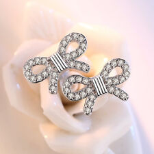 Real 925 Silver Crystal Zircon Bow Stud Earrings Women Girl Fashion Jewelry