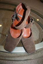 *ME TOO* sz 10 *Bev* brown suede leather square toe buckle strap heel pumps