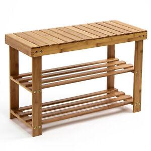Étagère à chaussures en bambou banc porte-chaussures à 3 niveaux rangement siège