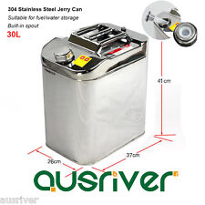 New 30L Jerry Can Fuel/Water Storage 304 Stainless Steel for Boat/4WD/Motorbike