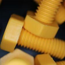 30x Yellow Screws Polypropylene Plastic Nuts & Bolts, M10 x 25mm, Anti-Corrosion