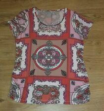 Multi-coloured Red Orange Pink White Ladies top Tshirt size 16 Short Sleeve