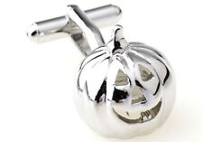 Pumpkin 3D Cufflinks Silver Halloween Wedding Fancy Gift Box Free Ship USA