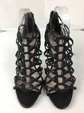 Vince Camuto Black Leather Gladiator Zip Back High Heel VC-Ombra Size 9 1/2
