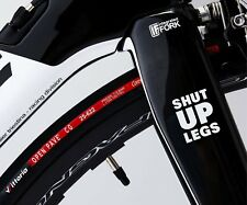2x 'SHUT UP LEGS' MOTIVATIONAL CYCLE FRAME STICKERS in GLOSS WHITE - Great gift!
