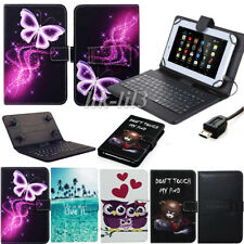 """For Amazon Kindle Fire 7"""" Tablet 2015-2019 Leather Micro USB Keyboard Case Cover"""