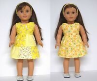 18INCH DOLL CLOTHES~ REVERSIBLE YELLOW DRESS FITS OUR GENERATION AMERICAN GIRL+