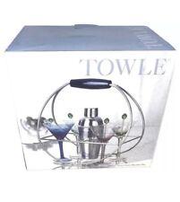 New listing Towle Radius 9 Pc. Martini Set Stir Sticks Martini Stems Shaker & Martini Rack