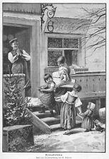 Weihnachten,Weihnachtskuchen, vor einer Bäckerei. Original-Holzstich ca. 1890