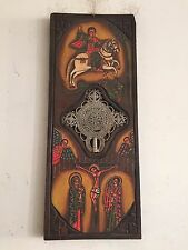 Antique Hand Painted Wooden Icon Coptic Cross Ethiopia Wall Decoration
