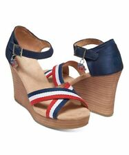 NEW Tom's Americana Election Charm Wedge Sandals Red White Blue Size 6