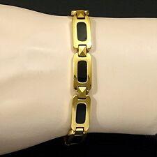 Strong Magnetic Tungsten Arthritis Pain Relief RSI 24K Gold & Black PLT Bracelet