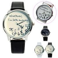 Fashion Watch Funny Women Men Analog Quartz Whatever I'm Late Anyway Wrist Watch