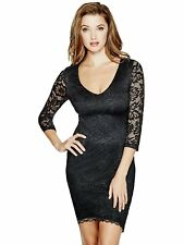 GUESS Dress Women's Slim Fit ¾ Sleeve Stretch Lace V-Neck Dress LBD XS Black NWT