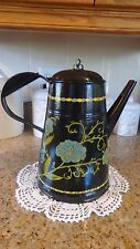 Antique Mid 19th Cent. Tin Coffee Pot/Country-style Painted Surface
