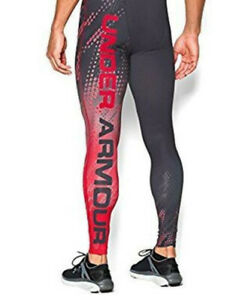 RARE! Under Armour BRANDED GRAPHIC Compression RED Heat Gear Tights UA 1269573