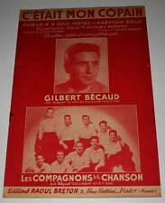 Partition vintage sheet music GILBERT BECAUD : C'était mon Copain * 50's