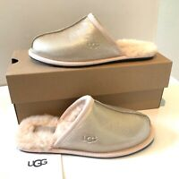 Women's UGG Slippers UK Size 5 6 Gold Iridescent Suede Slip on Boxed