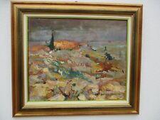 Micheline Chibrac peinture huile sur toile Le mas rouge 1984