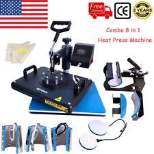 8in1 Combo Heat Press Transfer Machine 1215 Multifunctional T Shirt Mugs Plate
