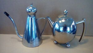 retro metal teapot and olive oil/creamer