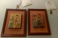 2 Vintage HANDMADE WOOD PICTURES The Studio of Artistic Wood Carving ISRAEL