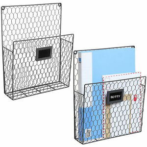 Set of 2 Wall Mounted Chicken Wire Magazine Organizer Rack with Chalkboard,Gray
