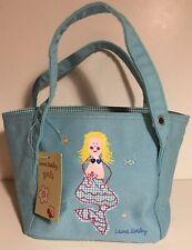 "NEW Laura Ashley 7"" Mini Girls Mermaid Purse Aqua Canvas"