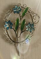 Signed Silver Vintage BEAU Enamel Forget Me Not Flower Pin Brooch