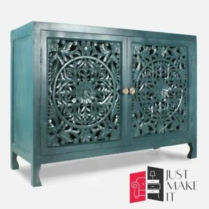 MADE TO ORDER Hand Carved Indian Handmade Solid Wood Teal Sideboard Floral
