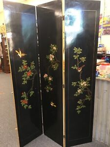 Vintage Laquered Three Panel Room Divider with Dogwood and Birds