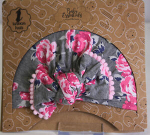1 Baby Girl Turban Hat Pink Gray print  by Baby Essentials NEW