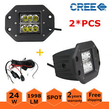 2X 24W CREE Square Spot Flush Mount LED Work Light UTE Ford with Wiring Harness