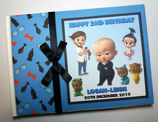 Personalised Boss Baby boys birthday guest book, album, gift