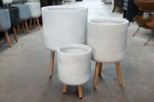 Outdoor Garden Patio Round Pot Plant Stand Tripod Wood Legs Winston White
