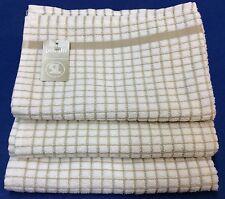 Samuel Lamont Poli-Dri Kitchen/Tea Towels White/Khaki Bg 3 Piece Set 100% Cotton