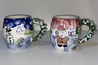 "Hand Painted Ceramic Christmas 4"" Mugs Set Of 2 Santa Snowman Tree Winter"