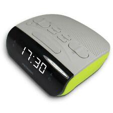 Metronic 477035 Radio Réveil Double alarmes Tuner Am/fm Gris Vert