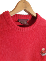 Vintage Chaps Ralph Lauren 100% Shetland Wool Knit Sweater 80s Crest Fuzzy XL