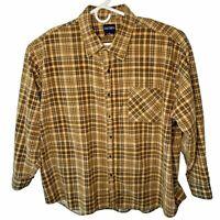 Vintage Puritan Mens  XXXL Brown Plaid LS Heavy Weight Cotton Flannel Shirt