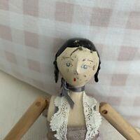 Vintage  Grodnertal  Wooden Peg Doll With Ringlets In Her Hair