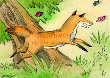 ACEO PRINT - Little Fox Chasing Butterflies - signed art, painting, drawing
