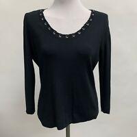 Joseph A. Women's Top Size Large Black Knit 3/4 Sleeves