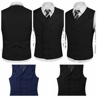 Mens V-Neck Formal Casual Business Vest Suit Slim Double-Breasted Waistcoat Coat