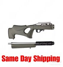 Hogue Grips Thumbhole OverMolded Stock Fits Ruger 10/22 Takedown OD Green 21260