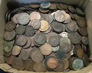 Lot 1 kg de pièces bronze royales, Dupré, Napoléon, Cérès, Dupuis...mauvais état