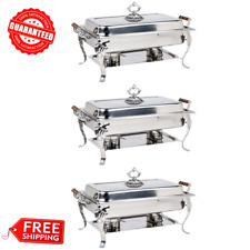 (3-Pack) Catering Classic Stainless Steel Chafer Chafing Full Dish Buffet - 8 Qt