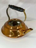 Vtg Copper Tea Pot Kettle Solid Copper Made In Taunton Massachusetts Wood Handle