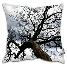 Photographic Tree Print Super Soft Faux Suede Sofa Cushion - Black & White Tree
