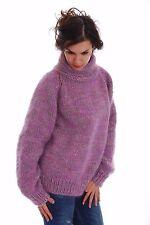 Hand  Knitted Mohair SWEATER  Reglan Mock Fuzzy Handgestrickt Pullover by SSEu